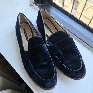 Zara Blue Satin Loafers